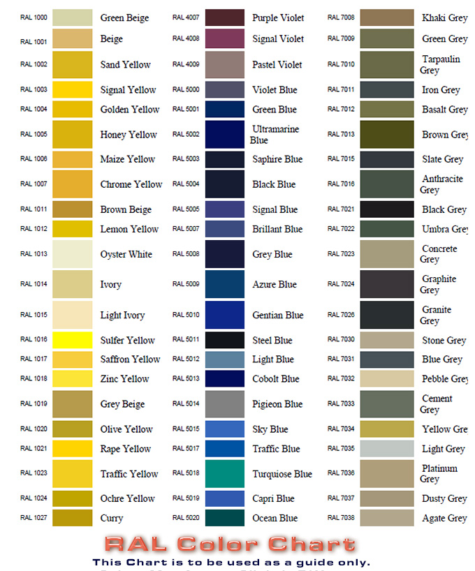 RAL Color Chart - Atlas Protective Coatings