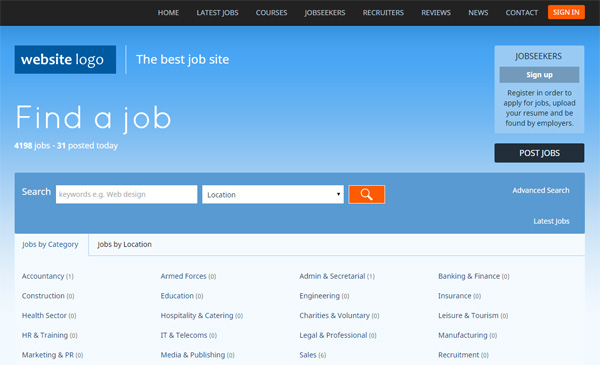 Responsive php job site script, jobs portal software php - php templates