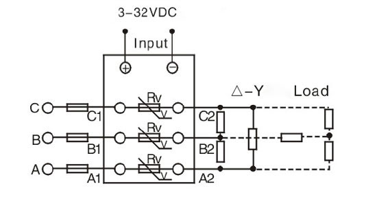 Solid state relay, 3 phase, SSR-25DA, 25A 3-32V DC to AC ATO