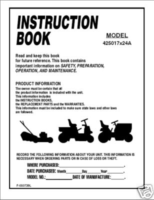 Murray Lawn Tractor Instruction Manual Model 425017x24A - Home