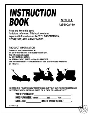 Murray Lawn Tractor Instruction Manual Model 425600x48A - Home - instructional manual