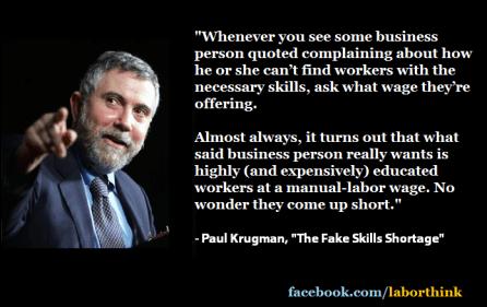 Paul Krugman quote on labor shortage