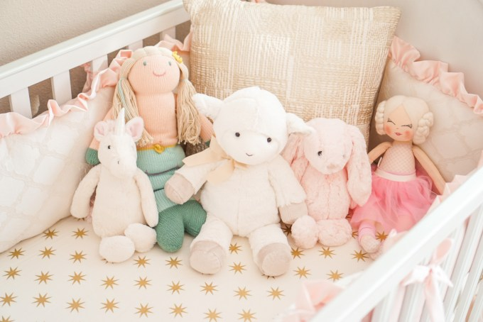 Blogger Katelyn Jones A Touch of Pink Nursery Decor Jelly Cat Pottery Barn Dolls
