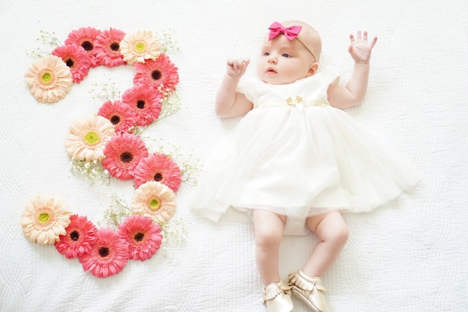 Katelyn Jones A Touch of Pink Three Month Update Kennedy Harper Jones Baby Girl Flower