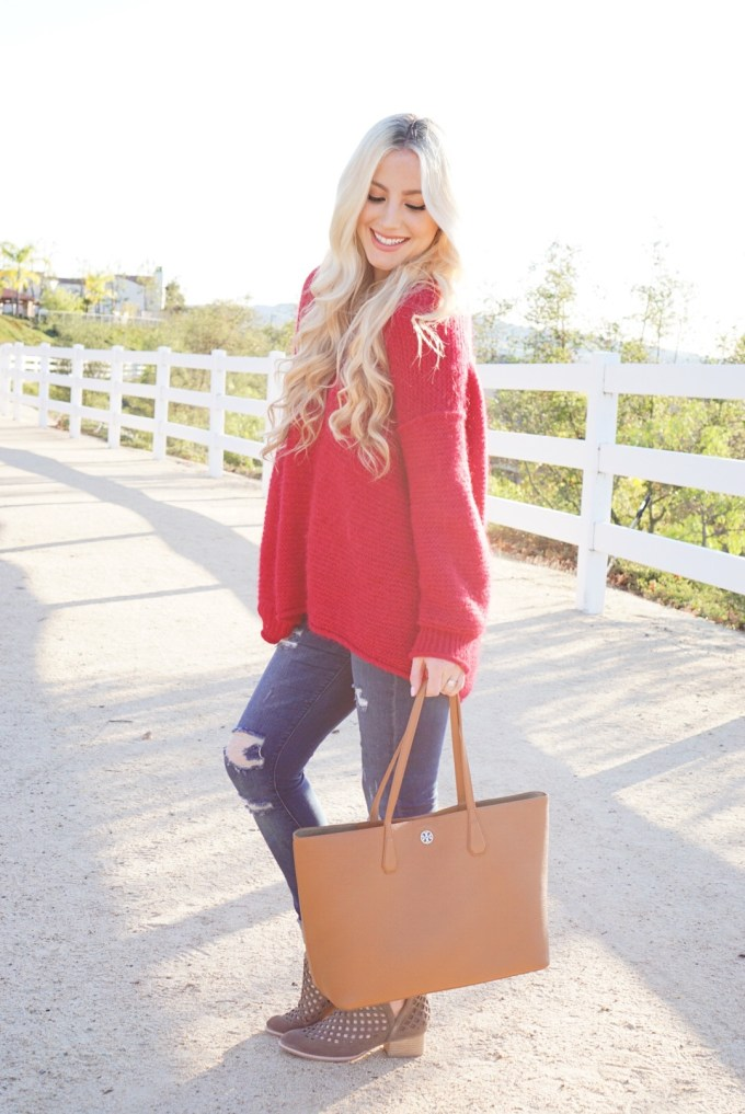 Katelyn Jones A Touch of Pink Slouchy Sweater Jeffery Campbell Cut Out Booties