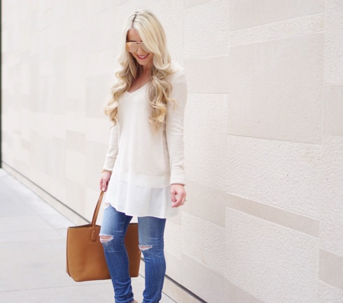 A Touch of Pink Blog Katelyn Jones Long Cream Tunic Sweater