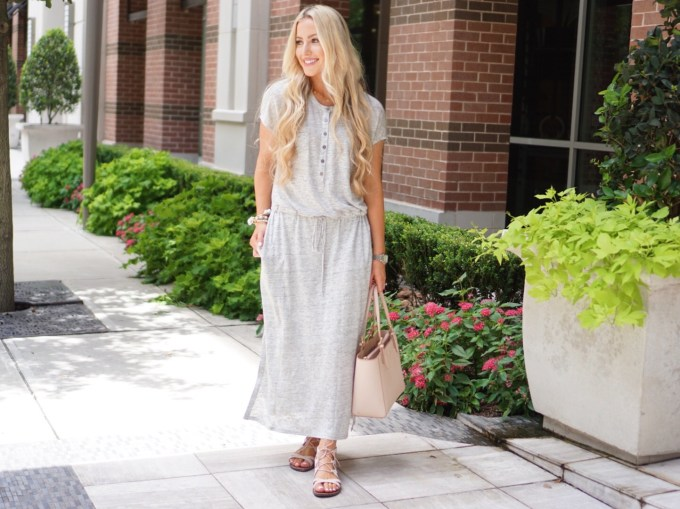 Katelyn Jones A Touch of Pink Blog Caslon Linen Knit Maxi Dress