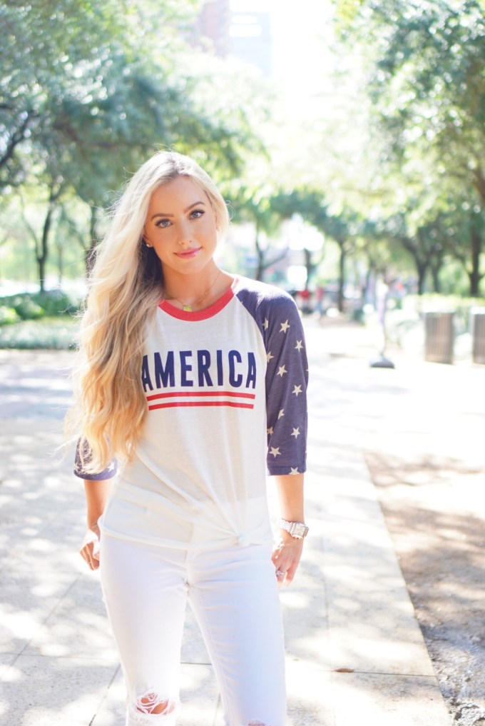Katelyn Jones A Touch of Pink Blog Fourth of July America Shirt ILY Couture