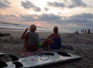 Costa Rica sunset beach surfing
