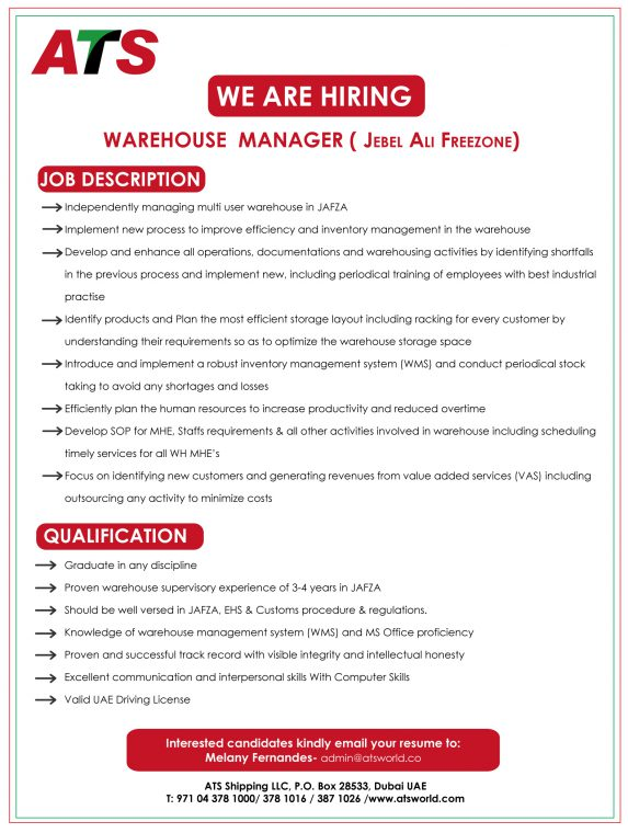 Warehouse-Manager\u2013Jan-2018 \u2013 ATS