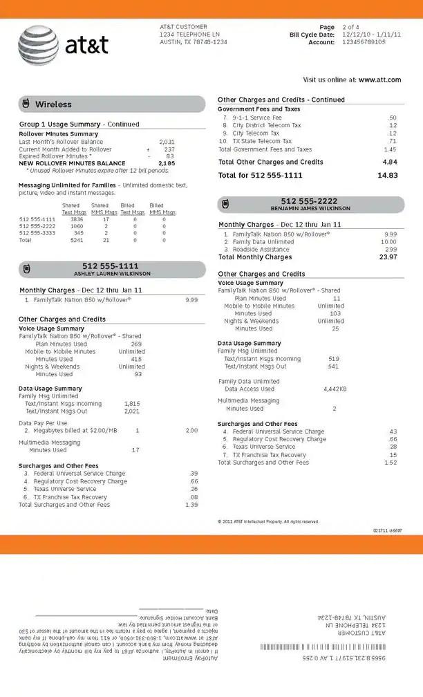 Segregating your phone bill \u2013 a sample ATT bill Chico Taxpayers
