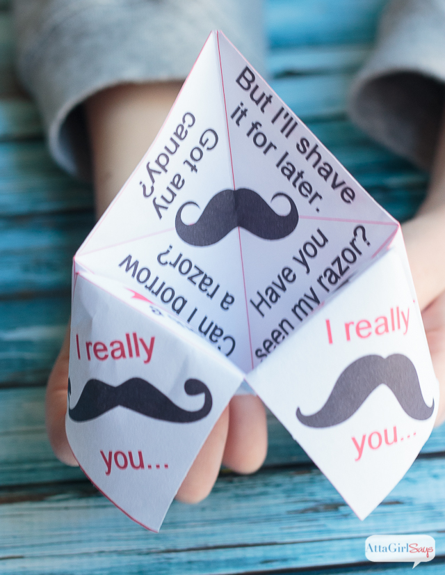 Printable Paper Fortune Teller Valentines - Atta Girl Says