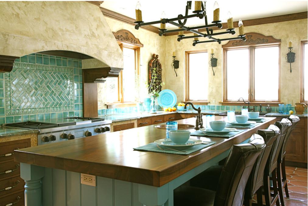 Turquoise Tile Kitchen - mexican kitchen design