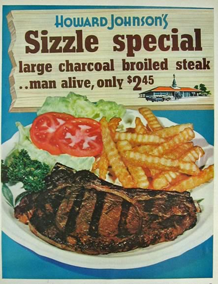 1964 Howard Johnson Restaurant Ad ~ $245 Steak Special, Vintage