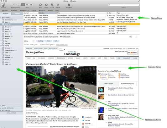 Evernote's User Interface