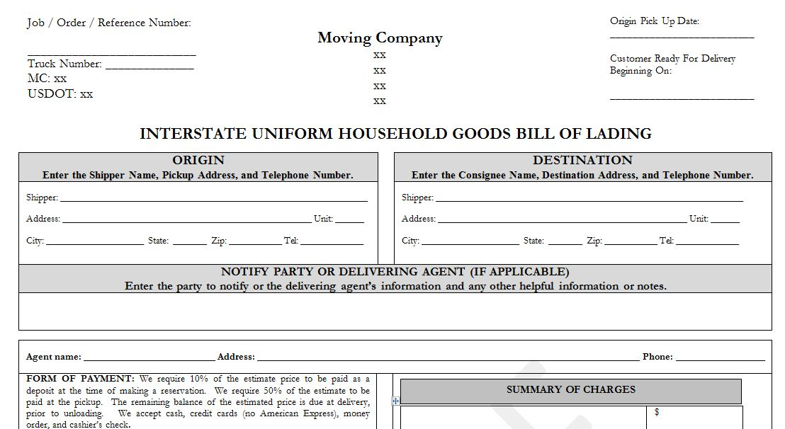 Sample Household Goods Bill of Lading Template - - bill of lading form
