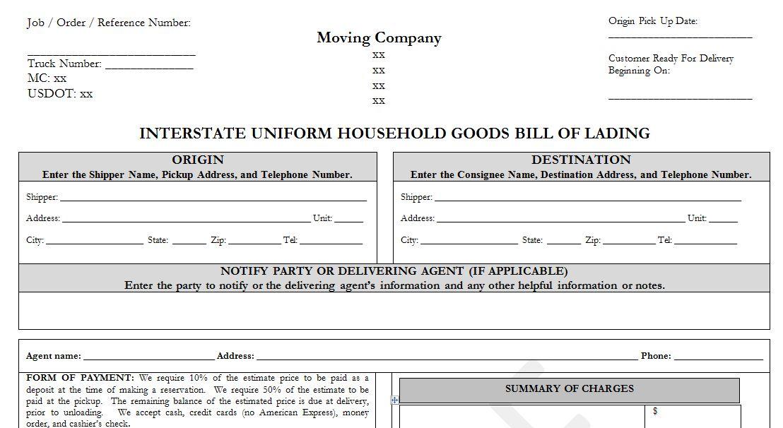 Sample Household Goods Bill of Lading Template -