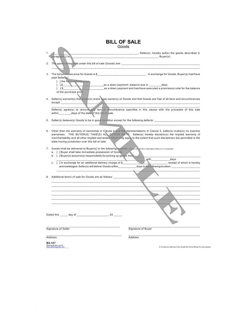 Bill Of Sale Form Goods – Bill of Sale for Goods