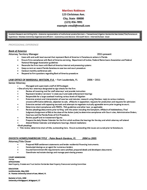 Sample Resumes for Attorney, Legal, Law Students  Experienced Attorneys