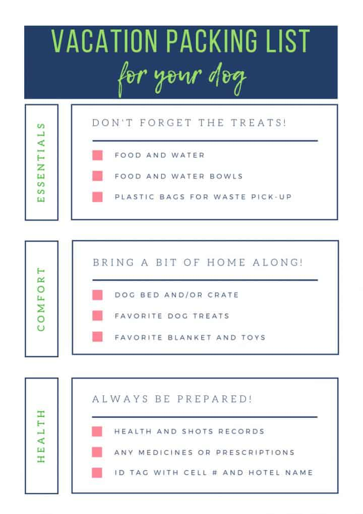 Dog Packing List for Vacation - A Turtle\u0027s Life for Me