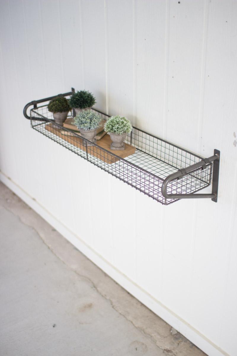 Wire Basket Wall Shelf With Brackets