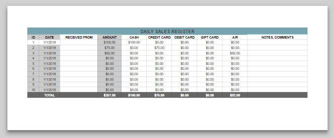 Daily Cash Sales Printable Daily Cash Sales Sheet