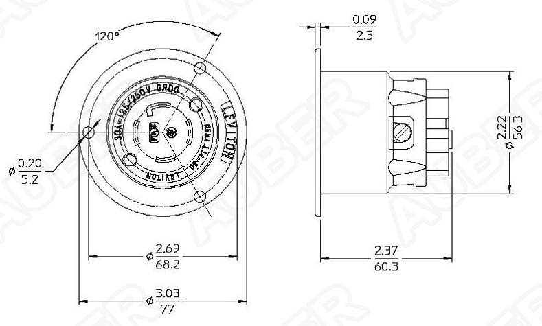 Leviton 125/250V 30A NEMA L14-30P Locking Flanged Inlet L14-30P-F