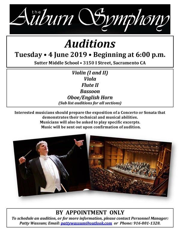 June 2019 Auburn Symphony Audition information