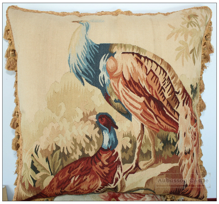 Peacock Aubusson Tapestry Throw Pillow Wool Woven Big