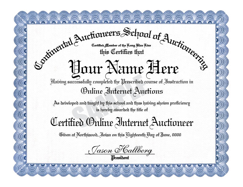 Certified Online Auctioneer - Continental Auctioneers School - merit certificate comments