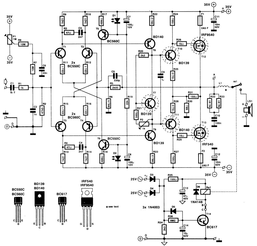 class a audio power amp circuit