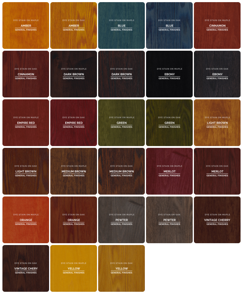 Stain Color Chart and Finish Information - sample general color chart