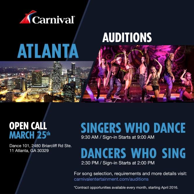 Singer and dancer auditions in Atlanta