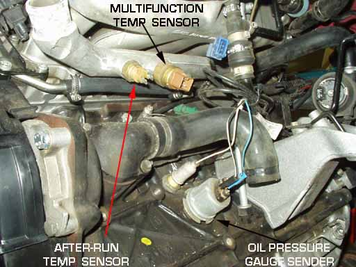 Photo showing location of the oil pressure sender and switch, MFTS