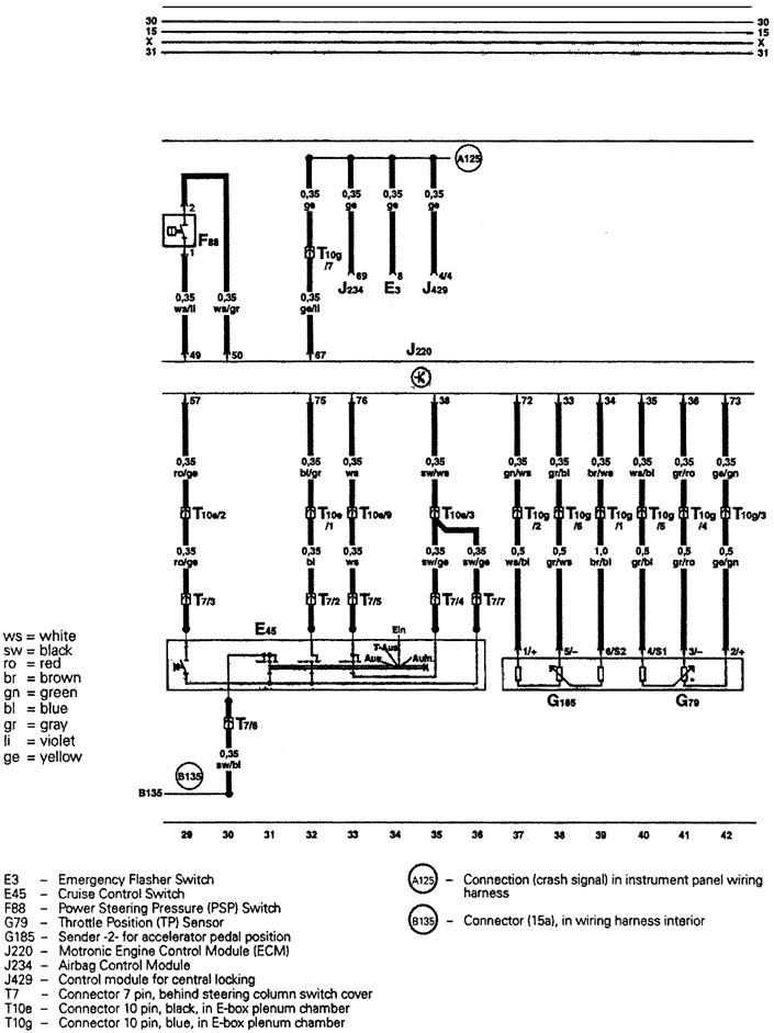 audi a4 b5 cruise control wiring diagram