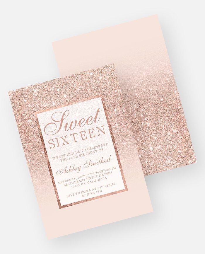 Rose gold Glitter Pink Ombre Wedding Invitation Digital Download