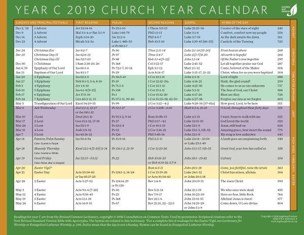 Church Year Calendar 2019, Year C
