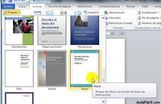 ⏩Insertar Portada - Word 2010 Avanzado AulaFacil Los mejores