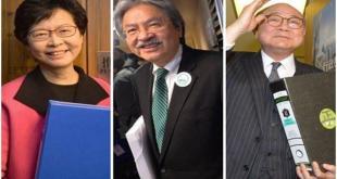 3名候選人曾俊華、林鄭月娥和胡國興昨晚最後一次同台辯論。(網路圖片)