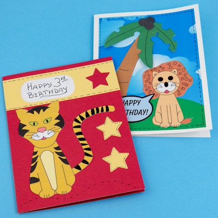 Make Lion and Tiger Birthday Cards for Kids - Greeting Card Ideas