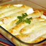 Caramelized Onion & Cream Cheese Chicken Enchiladas