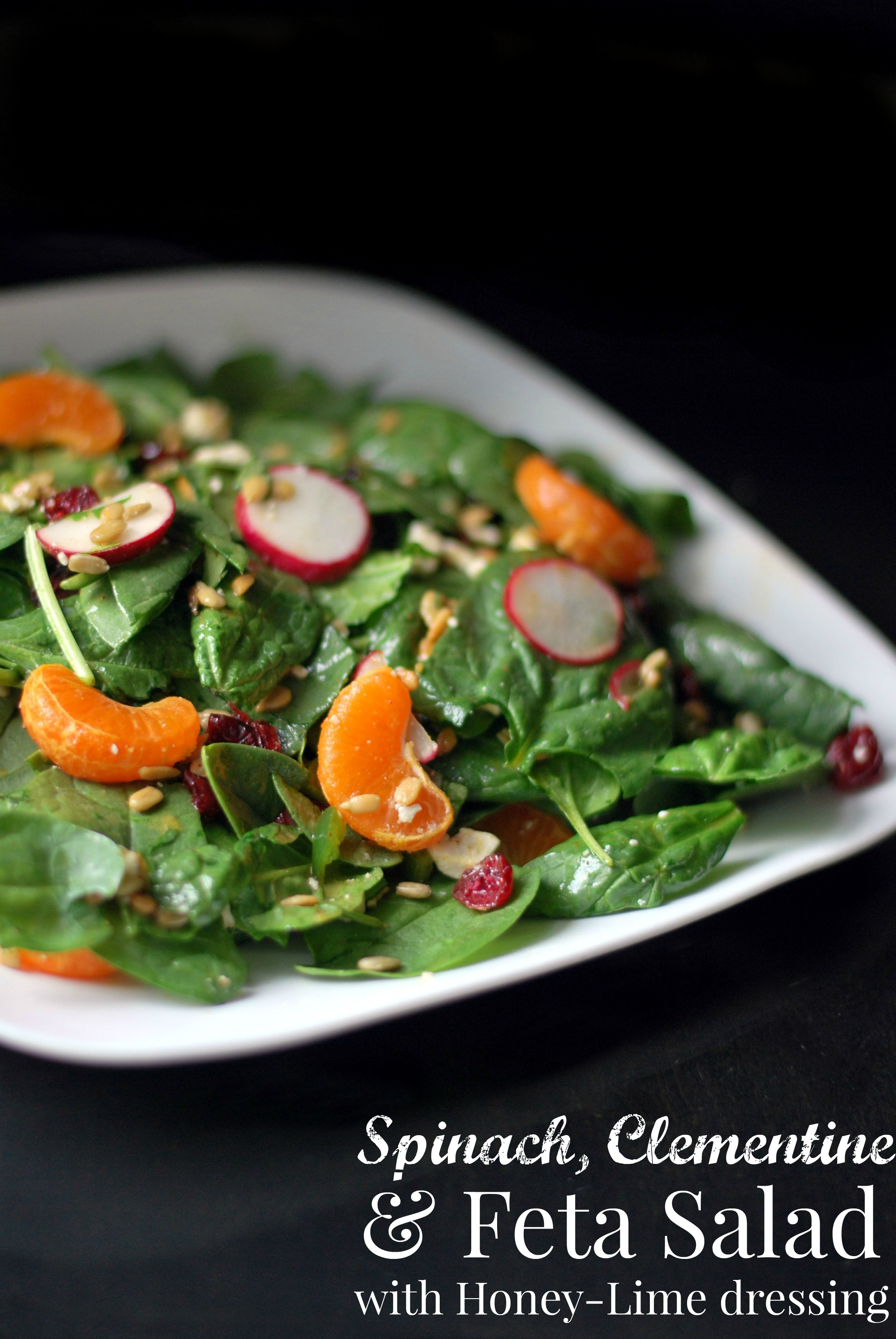 Spinach, Clementine & Feta Salad with Honey-Lime Dressing - Aunt Bee'...