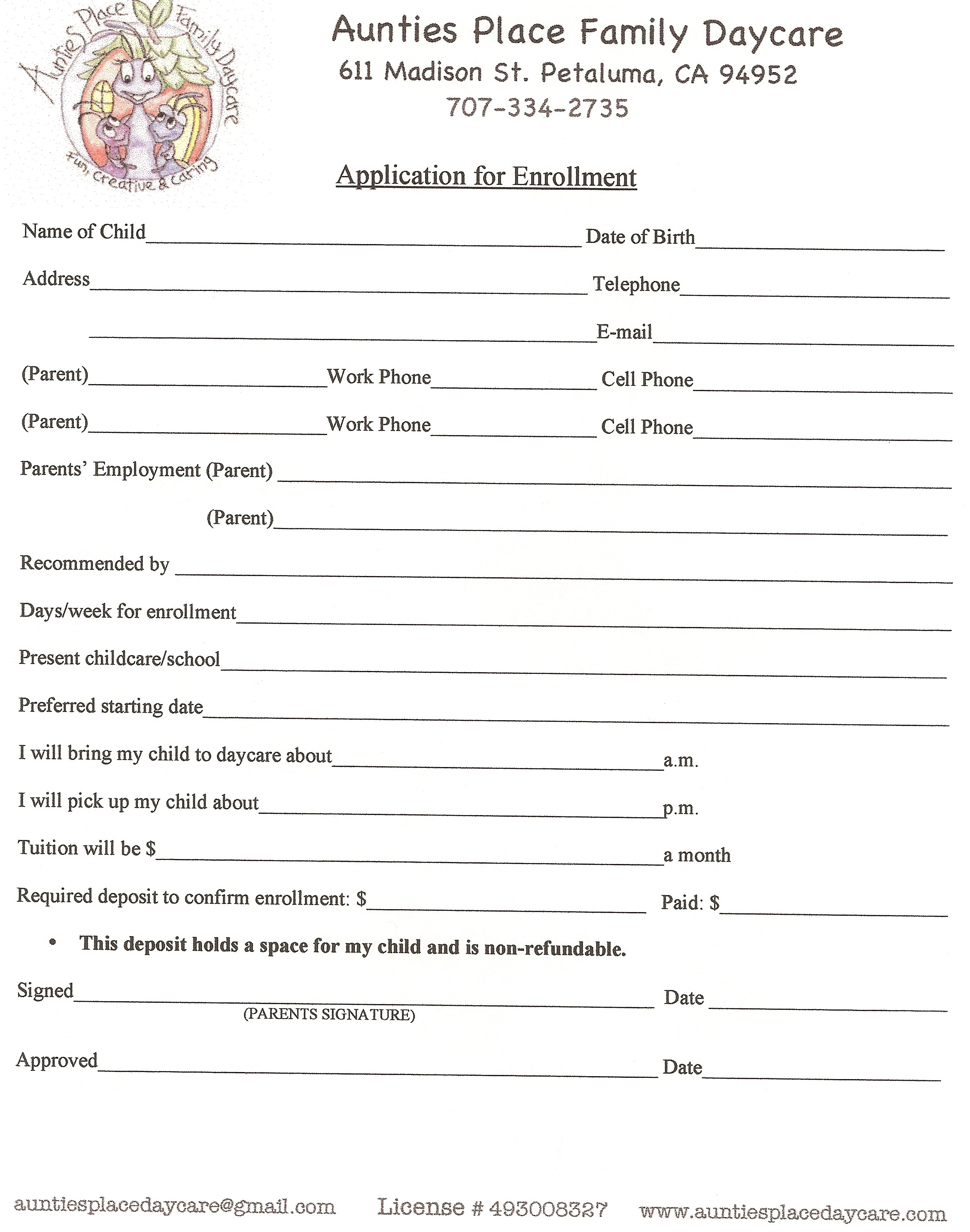 daycare contract