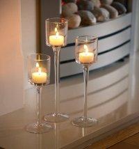 Set of 3 Elegant Tea Light Glass Candle Holders Wedding ...