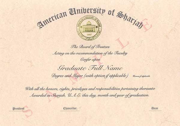 Diplomas American University of Sharjah - sample graduation certificate
