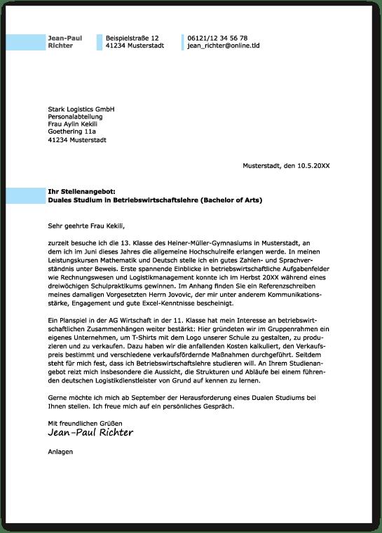 Dueles Studium: Das Perfekte Anschreiben - Ausbildungspark Verlag