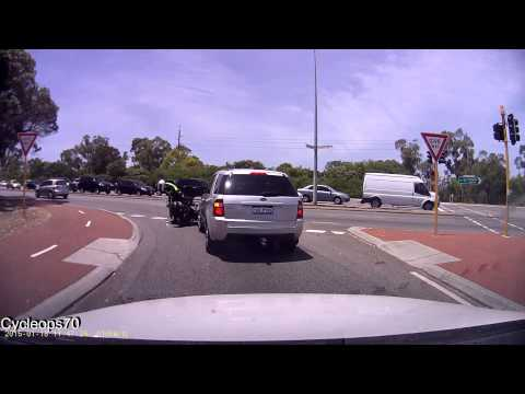 18-01-2015 - Impatient SUV driver tailgates a motorbike cop before knocking them off their bike, receives verbal justice (Joondalup, Perth)