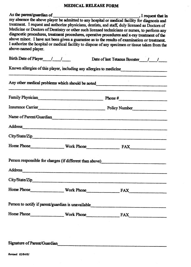Doc# Medical Release Form u2013 Free Printable Medical Consent Form - medical information release form
