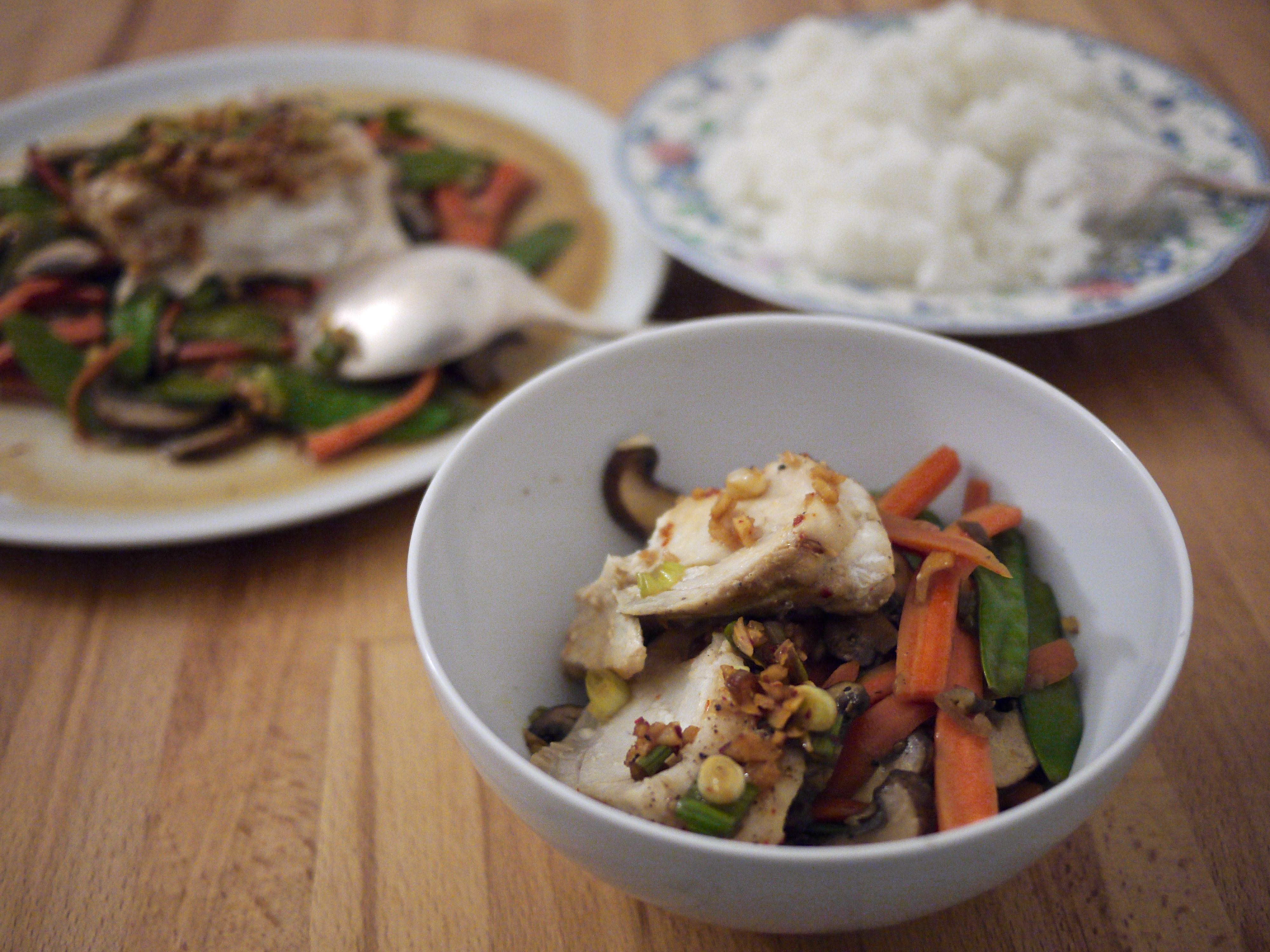 chinese-style steamed fish + stir-fried veg trio
