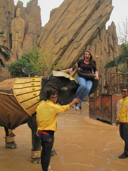 Befriending an elephant at China Dino Park, Changzhou